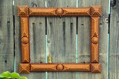 Hand carved tramp art frame. Circa late 1800's. Offered by MerlesVintage on Etsy. #vintageunscripted