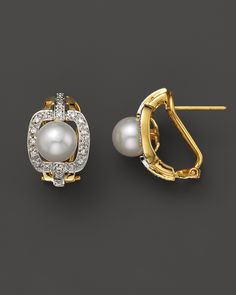 Diamond And Akoya Pearl Earrings, Fine Jewelry - Bloomingdale's Ear Jewelry, Gold Jewelry, Fine Jewelry, Jewellery, Big Diamond Rings, Pearl Diamond, Bridal Earrings, Beaded Earrings, Beaded Jewelry
