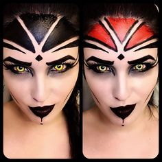 Looks like a #Sith #mugshot . Here are the two make-up tests I rejected yesterday. I used a #ringlight after hearing @dollfille wax on about hers. Love it!! I've noticed a lot less yellowing in the pics from the florescent light. #makeuptest #sithmakeup #acrylicpaint #macmakeup #makeupforever #katvond #damned #contactlenses #sithcontacts #starwars #starwarscosplay #cosplaymakeup