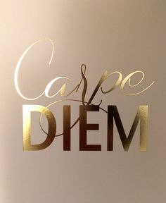 Carpe Diem - Seize the Day Gold Foil Print by JordanKatelin on Etsy Quotes To Live By, Me Quotes, Motivational Quotes, Inspirational Quotes, Hustle Quotes, Gold Quotes, Framed Quotes, Gold Foil Print, Wise Words