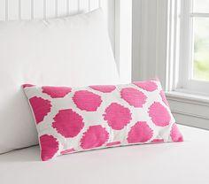 Pink Ikat Crewel Dot Lumbar Pillow | Pottery Barn Kids