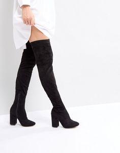 92ac3008a10f ASOS KATCHER WIDE LEG Heeled Over The Knee Boots - Black Black Knees