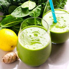 Delicious Green Smoothie - Spinach, cucumber, broccoli, lemon, ginger, bananas, pineapple or mango chunks, lots of water, raw honey or dates