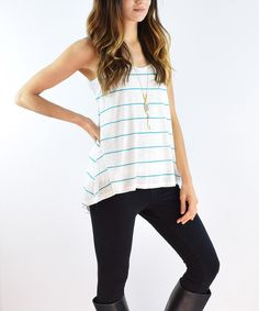 Look at this #zulilyfind! éloges Ivory & Mint Stripe Sleeveless Hi-Low Tunic by éloges #zulilyfinds