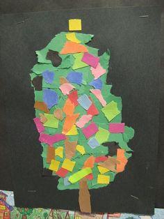 Torn paper Christmas tree craft for Kindergarten.