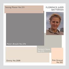 Farrow & Ball Setting Plaster, Mole's Breath, Dimity, Pink Ground, Purbeck Stone.