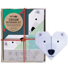 Origami Notepaper Set: Bear by Lollipop Designs. Boxed set of 10 envelopes and 10 sheets of origami notepaper. £9.50. Available from the Paintings in Hospitals gift shop from 03/09/2015.