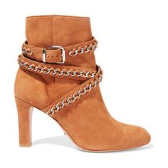 On SALE at 50% OFF! chain-embellished suede ankle boots by Schutz. US sizing Schutz camel boots . Heel measures approximately 85mm/ 3.5 inches . Suede . Silver chain and buckle embelli...