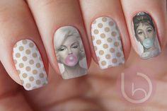 Audrey and Marylin Bubble Gum Waterslide Nail by VitaBelloVogue