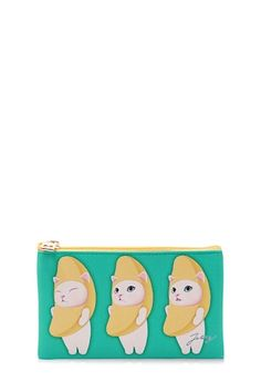 A textured slim pouch by Jetoy™ featuring graphics of Choo Choo cat dressed in a banana suit, a cat and banana tree on the reverses side, and a contrast top zipper closure.