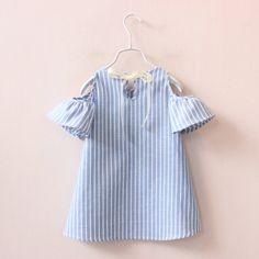 2016 новый стиль мода лето хлопок платье принцессы полосатый одежда детей платья