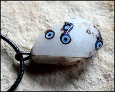 Agate Stone Necklace, Element Earth Neclace,, Wiccan Necklace, Agate Stone pendant, Symbol of Element Earth, Smooth Stone Necklace by WitchTools on Etsy