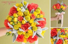 """Bouquet with orange roses, yellow spray roses, yellow craspedia and some silver greens from our garden which we call """"rabbit ears"""" :)"""