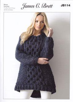 James Brett Mega Chunky Knitting Pattern - JB114 Ladies Tunic - Mill Outlets