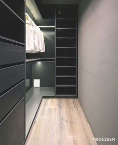 Trendy Dark Bachelor Apartment by YoDezeen - Wardrobe Room, Wardrobe Design Bedroom, Master Bedroom Closet, Small Room Bedroom, Walk In Closet Ikea, Walk In Closet Design, Closet Designs, Small Dressing Rooms, Dressing Room Design