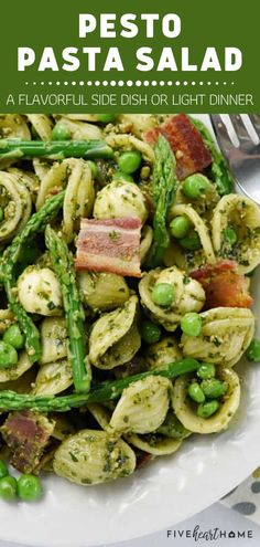 This recipe is simple, straightforward, and scrumptious! Pesto Pasta Salad is easy to throw together for any summer celebration. Studded with asparagus, sweet peas, bacon, and fresh mozzarella, this flavorful side dish will become a staple on your summer menu! Yummy Pasta Recipes, Pasta Salad Recipes, Bacon Recipes, Side Dish Recipes, Real Food Recipes, Healthy Recipes, Simple Recipes, Summer Recipes, Side Dishes