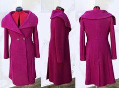 Couture et Tricot: 2015#1 - Retro-style fuchsia coat (BurdaStyle 2014...