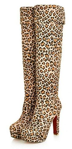 15f8e5c1 Aisun Women's Sexy Round Toe Platform Chunky High Heel Dress Over Knee High  Slip On Tall