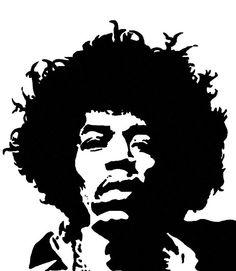 Jimi Hendrix - stencil en guitarra