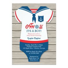 """Cute nautical themed boy baby shower invitations. Design features a sailor outfit with the phrase """"Ahoy, it's a boy!""""."""