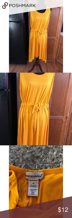 Jessica London Yellow Tshirt Knit Dress Size 14 Golden yellow dress by Jessica London. Tshirt Knit.  Asymmetrical hemline.  Drawstring waist.  Size 14.  Good condition.  Important:   All items are freshly laundered as applicable prior to shipping (new items and shoes excluded).  Not all my items are from pet/smoke free homes.  Price is reduced to reflect this!   Thank you for looking! Jessica London Dresses Midi