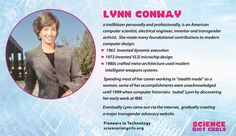 Lynn Conway is a famed pioneer of microelectronics chip design. Her innovations during the at the Xerox Palo Alto Research Center (PARC) have impacted chip design worldwide. Many high-tech companies and computing methods have foundations in her work. Research Centre, Tech Companies, Electrical Engineering, Transgender, Inventions, American, Design, Women, Engineering