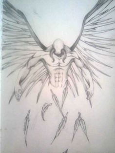 a concept drawing of a fallen angel i drew this at college Tribal Band Tattoo, Tribal Tattoos For Men, Arm Tattoos For Guys, Skull Tattoos, Hand Tattoos, Tatoos, Angel Tattoo For Women, Fallen Angel Tattoo, Angel Tattoo Drawings