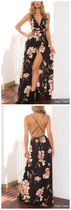Sexy Plunge V-neckline Random Floral Print Maxi Dress - https://sorihe.com/adidas/2018/03/04/sexy-plunge-v-neckline-random-floral-print-maxi-dress/