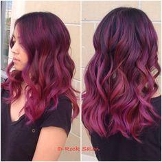 Rose purple color melt   hair color 2015  ombré   red purple balayage  purple hair   hair trend 2015  red balayage  ombré hair    GREAT HAIR AND SERVICES LIVE AT D-ROCK SALON   703-293-9400  DROCKSALON.COM @drocksalon
