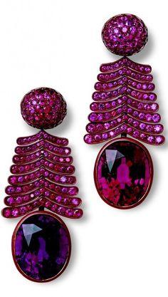 {Jewel Worthy} Sugarplum Luxe~Earrings by Hemmerle ( tourmalines and pink sapphires in white gold and patinated copper.) via Mazurenko Svitiana