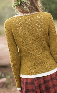 Ravelry: Aspens Cardigan pattern by Anne Podlesak. I love the colour of this cardigan, the pattern from behind (can't see the front) and l love the foliage in her hair:) Knit Cardigan Pattern, Lace Cardigan, Sweater Knitting Patterns, Jacket Pattern, Knit Patterns, Hand Knitting, Mustard Cardigan, Knitting Machine, Loom Knitting