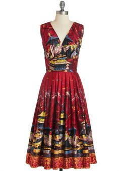 You may be between travels, but this crimson A-line declares that you'll always be an on-the-go girl at heart. Show off your wanderlust with a twist and a twirl of the neatly-pleated skirt that flows below this frock's surplice bodice. The colorful print of pagodas takes you on a new journey with every wear! #classic_retro