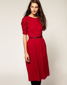 ASOS 40s Midi Dress with Exaggerated Sleeves (on sale!)