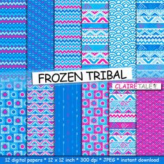 """Tribal digital paper: """"PINK & BLUE TRIBAL"""" with tribal patterns and tribal backgrounds, arrows, feathers, leaves, chevrons in blue and pink by ClaireTALE on Etsy"""