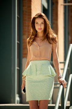 This outfit just has everything perfect<3 mint peplum skirt, nude tank blouse, gorgeous hair, and red lips