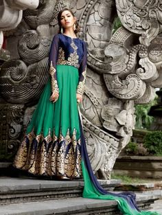 Blue and Green Velvet Anarkali Suit with Embroidry Work