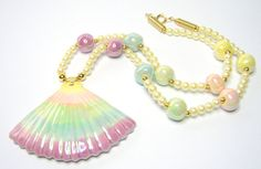 Pale Blue Green Pink and Cream  Ceramic Shell by SwankyJewels
