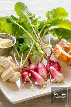Easy appetizer idea: radishes, feta cheese, crusty bread and butter. Serve it along with some mixed nuts and wine for a starter at your next dinner get-together. Radish Recipes, Bread N Butter, Mixed Nuts, Feta, Camembert Cheese, Appetizers, Wine, Vegetables, Easy