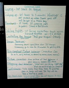 Some of these ideas I need to implement...like the Correction Can with punishments on a popsicle stick. When they are in trouble, they pick a punishment.