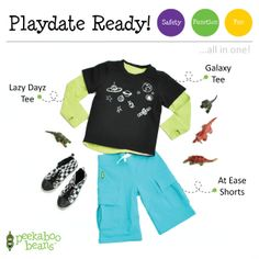 Playing with Dinosaurs Bean!   Peekaboo Beans - playwear for kids on the grow! www.peekaboobeans.com   #PBPlayfulPairings