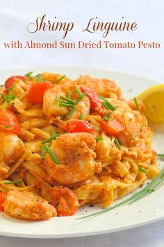 Almond Sun Dried Tomato  Pesto Linguine - a super quick, delicious and easy sun dried tomato pesto that can be turned into a speedy workday meal with added shrimp or grilled chicken ...or just toss it with pasta all on its own as a great vegetarian meal.