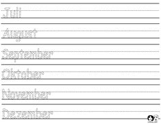 Month of the Year - Writing Practice - Printout - German
