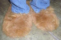 Light brown Slippers, bed shoes, made of pure Alpaca fur