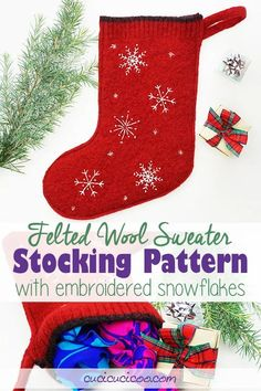 Sew this DIY felted wool sweater stocking pattern with embroidered snowflakes. These beautiful handmade stockings can be sewn by hand or machine! #diystocking #stockingpattern Christmas Sewing Projects, Hand Sewing Projects, Sewing Projects For Beginners, Diy Christmas, Christmas Decorations, Embroidery Patterns Free, Sewing Patterns Free, Free Sewing, Sewing Hacks