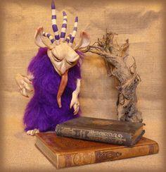 'Skuzzle', Fimo and purple fur. By Rosie Lauren Smith
