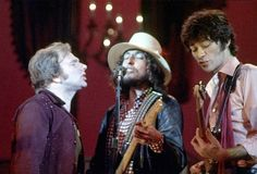 Van Morrison Bob Dylan and Robbie Robertson perform on stage for 'The Band's' 'The Last Waltz' concert at the Winterland Ballroom on November 25 1976...