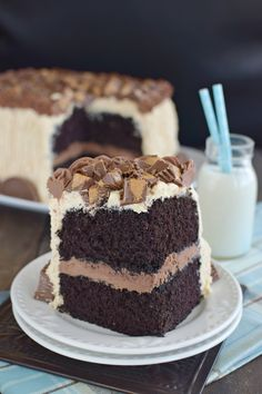 Layers of chocolate cake and two kinds of frosting with candy makes this an over the top cake for any party.