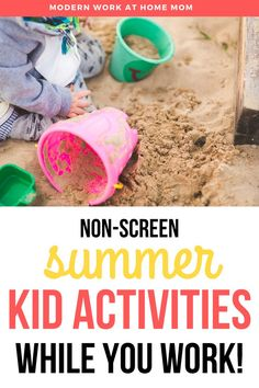 How to create a summer outside station for your kids while you work! Looking for summer ideas for kids? Check out these outside ideas for kids at home. How to work at home with kids? Need ideas for how to work with kids during the summer? Check out these ideas to create a small sandbox, water activities for kids, water activities for toddlers, toddler activities inside while you work. #athome #workwithkids #workathome #summer via @themodernwahm Educational Activities For Toddlers, Activities For 2 Year Olds, Summer Crafts For Kids, Summer Activities For Kids, Water Activities, Hands On Activities, Summer Ideas, Infant Activities, Summer Fun