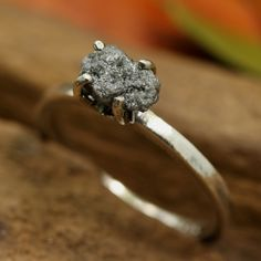 Natural marquis grey rough diamond ring in prongs setting with sterling silver high polished band