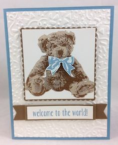 The Stamp Camp - Page 2 of 686 - Glenda Calkins Stampin Up! Baby Boy Cards, New Baby Cards, Baby Shower Cards, Pet Sympathy Cards, Greeting Cards, Bear Card, Handmade Baby, Creative Cards, Kids Cards